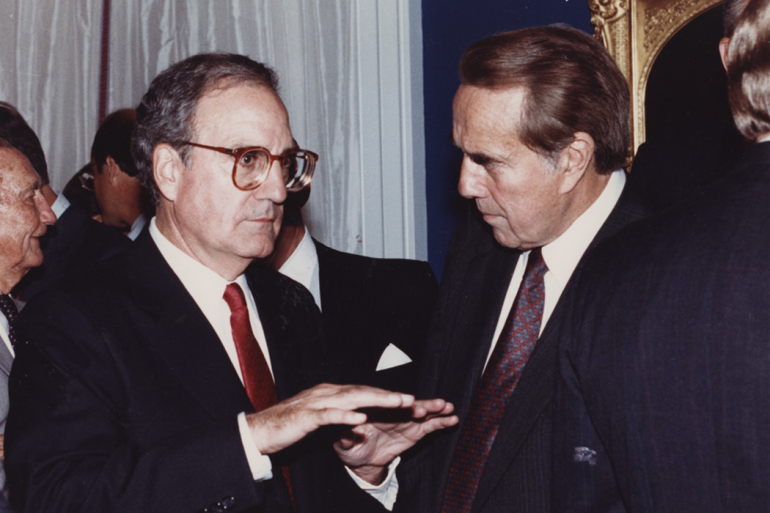 George J. Mitchell and Bob Dole in 1990