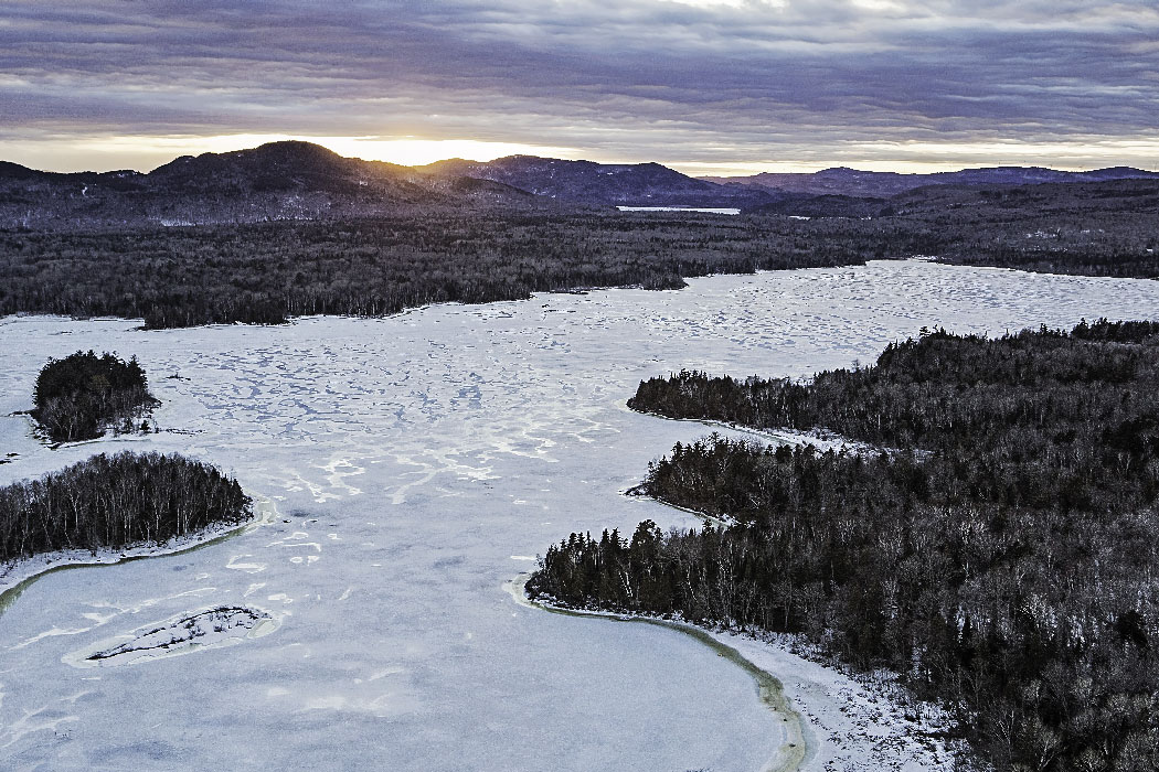Sky view of frozen lake