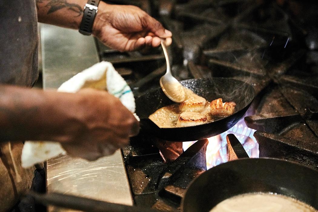 food cooking in pan
