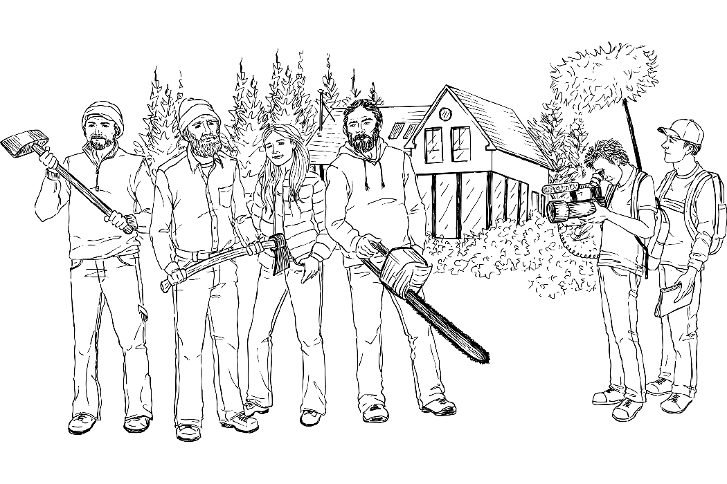 Drawing of people filming others with house building tools