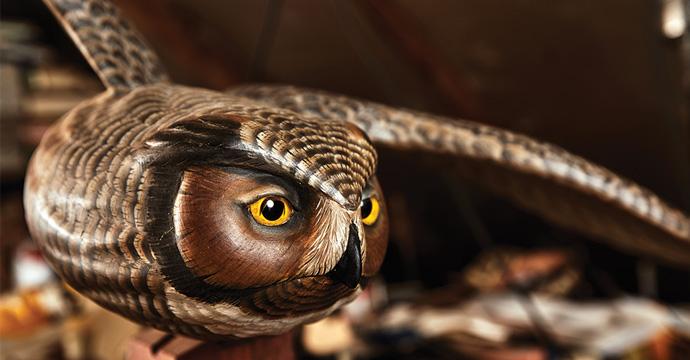 Owl carved by Steve Brettell