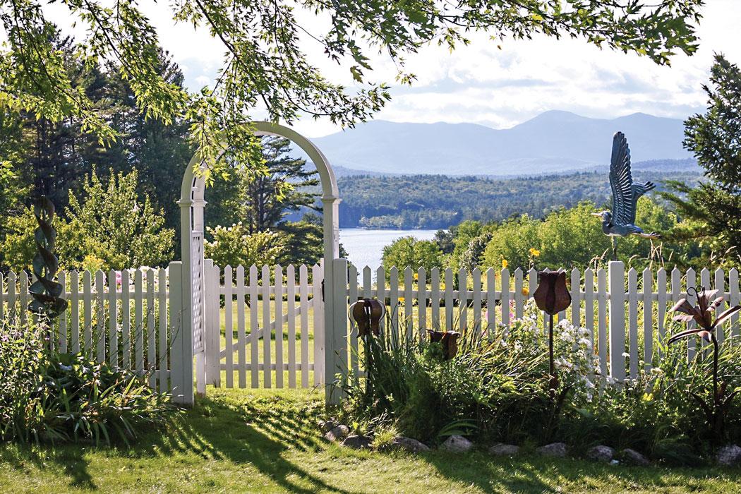 garden with white gate