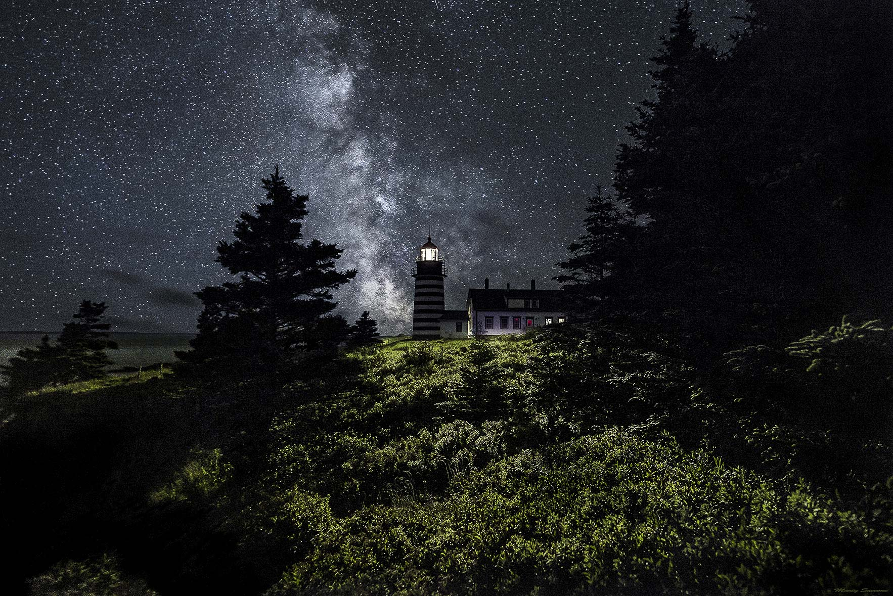 West Quoddy Head Lighthouse With Milky Way Starscape