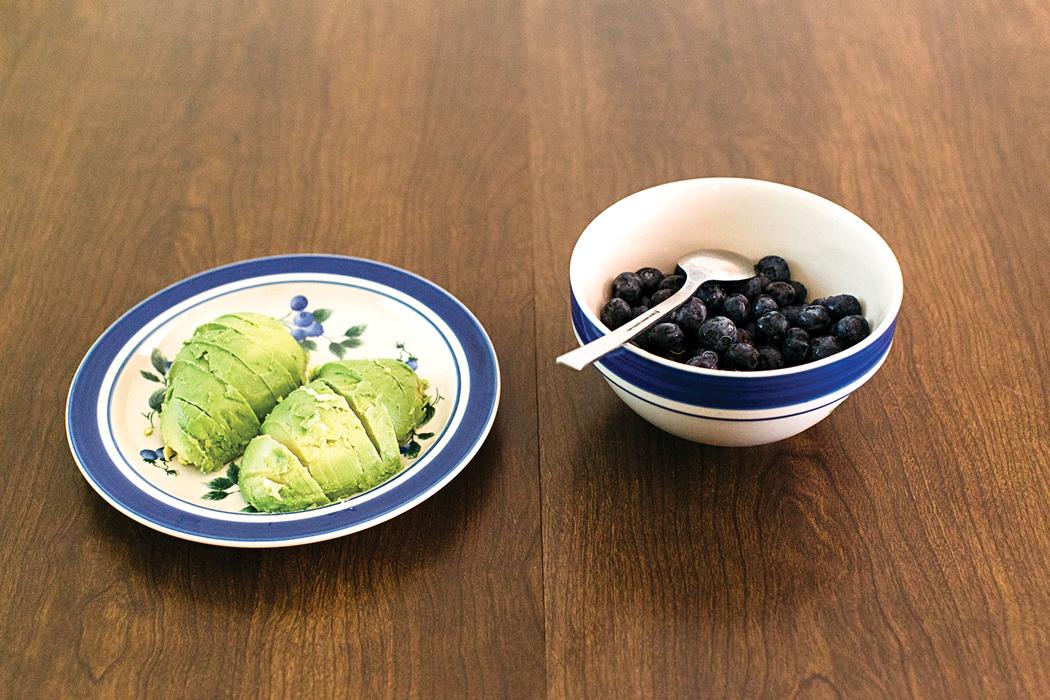 avocado and blueberries