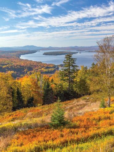 autumn field overlooking lake