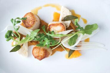 Musette - Maine scallops with butternut puree, orange reduction, fennel, arugula, and crispy sage.