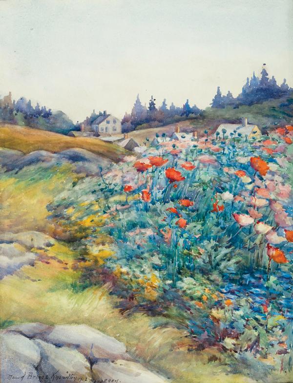 Maud Briggs Knowlton paints Monhegan flowers.