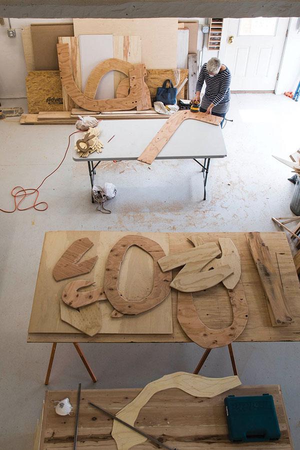 artist Anna Hepler, of Greenfield, Massachusetts, works on a sculpture at Monson Arts