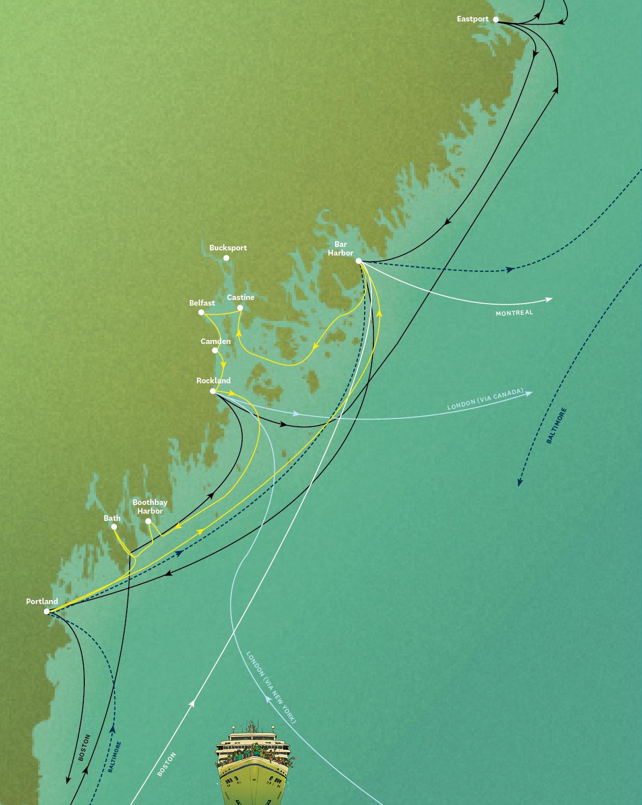 Cruise ships map