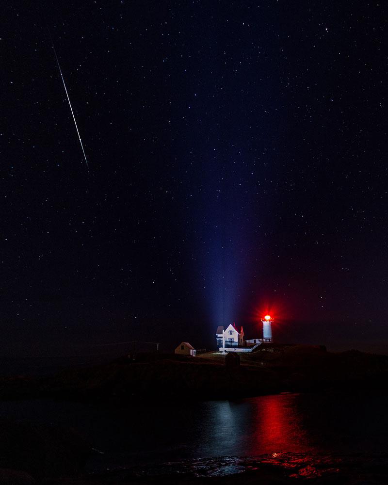 Geminid Meteor Shower at Nubble Light