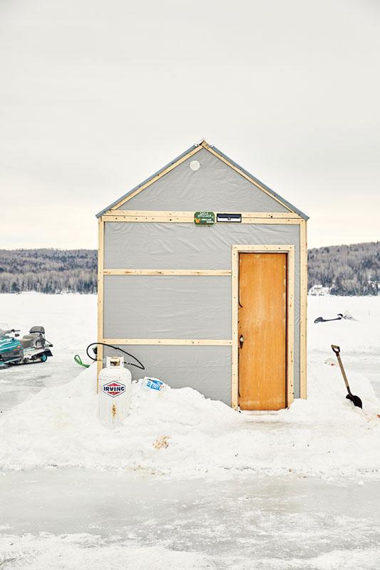 Ice shacks on Long Lake, Maine