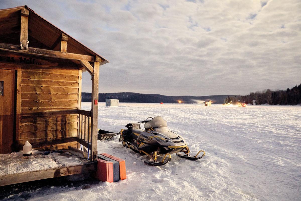 Evening light on Long Lake, outside Reno Voisine's cabin-like ice shack.