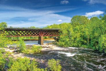 The scenic Salmon Falls River, South Berwick, Maine