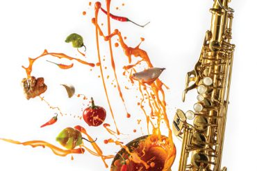 Evan's Rockin' Hot Sauce and a saxapohone