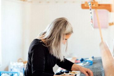 Sara Hotchkiss at her loom
