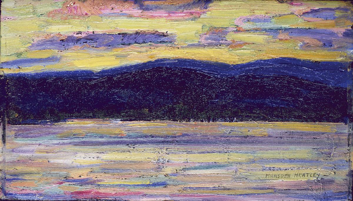 Sundown, Kezar Lake, July 14, 1910, oil on panel, 5 3/4 x 9 3/8 in., Gift of Norma Berger, 1955.1.101