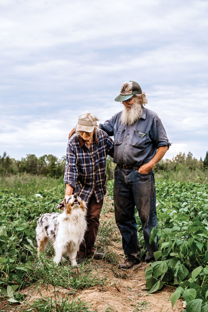 Pumpkin aficionados Tom Roberts and Lois Labbe at Snakeroot Organic Farm.
