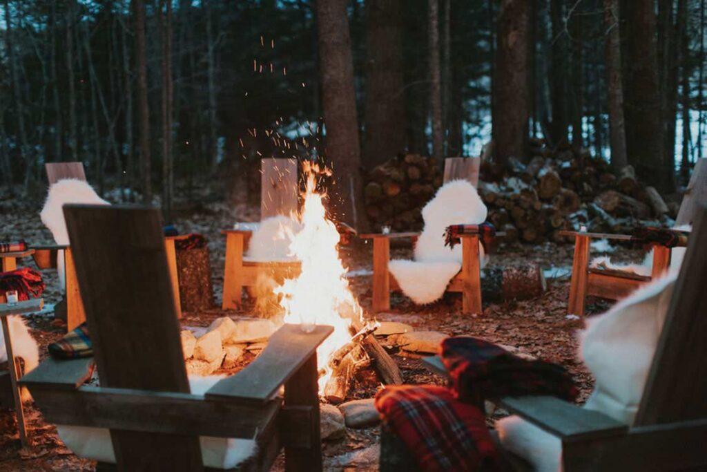 Firepit set up for Tops'l Farm's winter raclette picnics