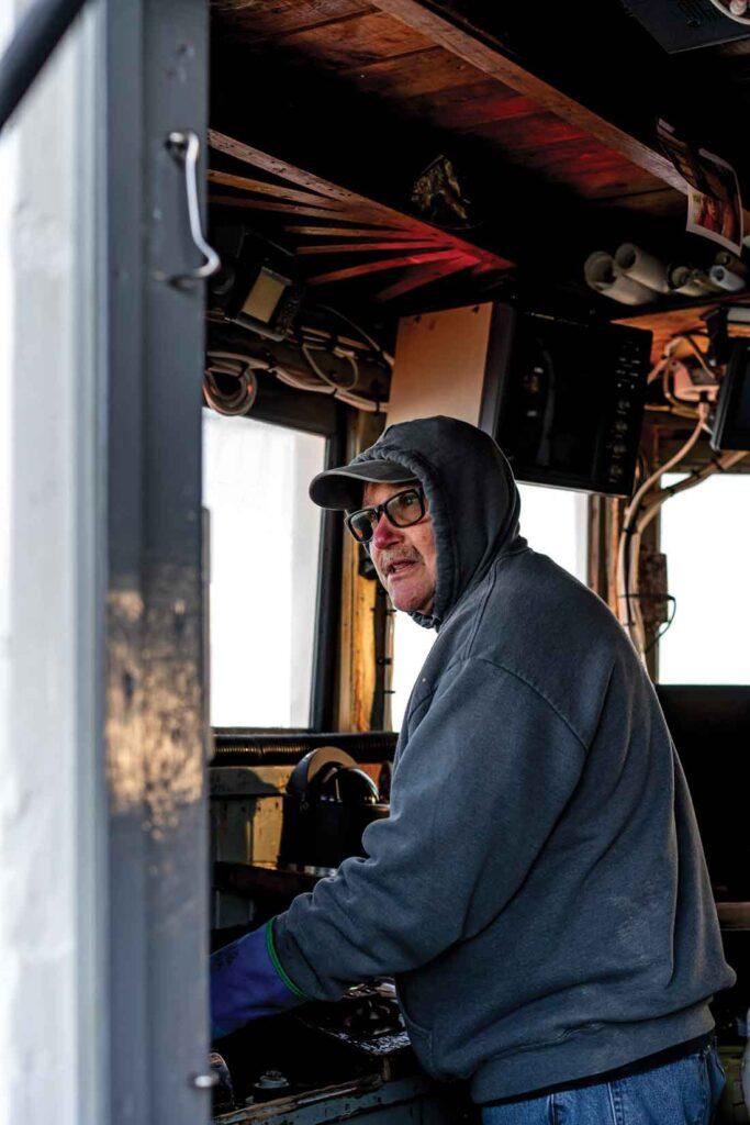 Captain Randy Cushman, aboard his trawler, the Ella Christine.