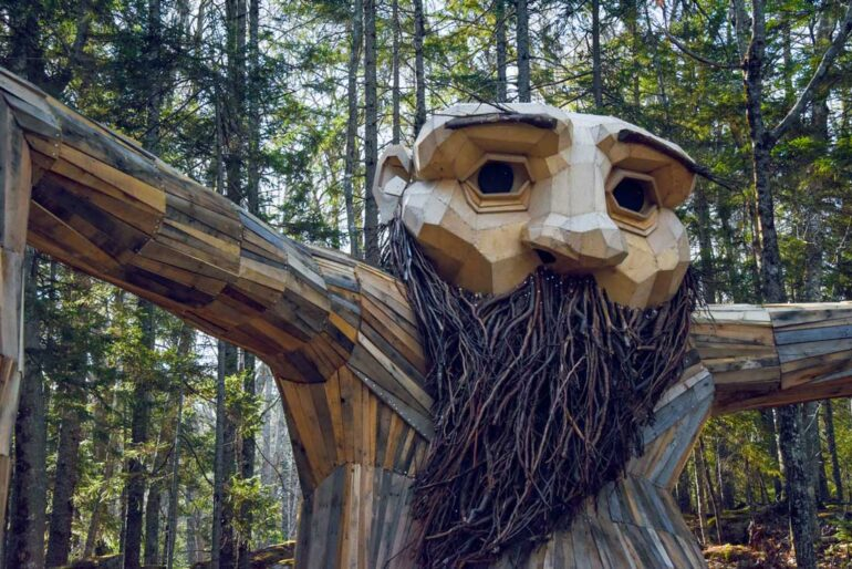 A giant, bearded troll hiding in the woods of the Coastal Maine Botanical Gardens in Boothbay Harbor