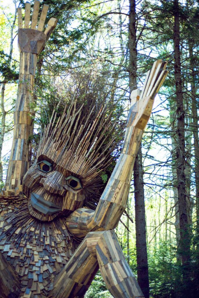 Another one of Danish artist Thomas Dambo's giant trolls in the woods of the Coastal Maine Botanical Gardens in Boothbay Harbor