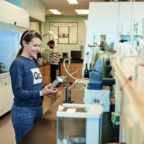 Chemistry professor Luci Benedict runs USM's quality-control beer lab